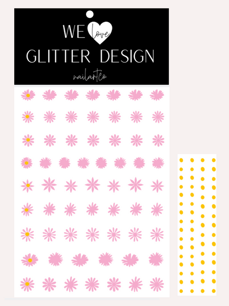 Daisy Flower Nail Decal | Soft Pink + Yellow Centers