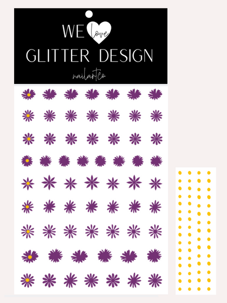 Daisy Flower Nail Decal | Violet + Yellow Centers