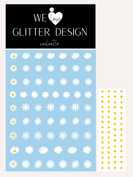 Daisy Flower Nail Decal | White + Yellow Centers