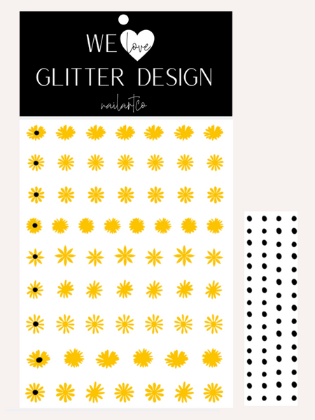 Daisy Flower Nail Decal | Yellow + Black Centers