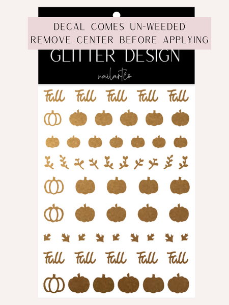 Fall Pumpkin Patch Nail Decal (Pumpkin Center Comes Un-Weeded) | Copper Shimmer