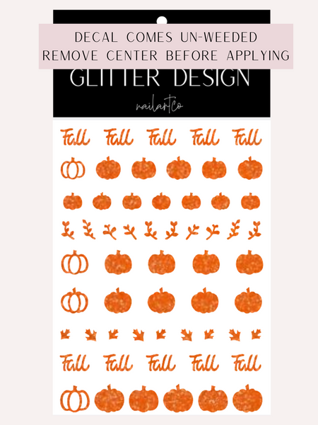Fall Pumpkin Patch Nail Decal (Pumpkin Center Comes Un-Weeded) | Sparkle Orange