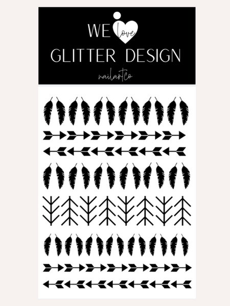 Feather And Arrows Nail Decal | Black