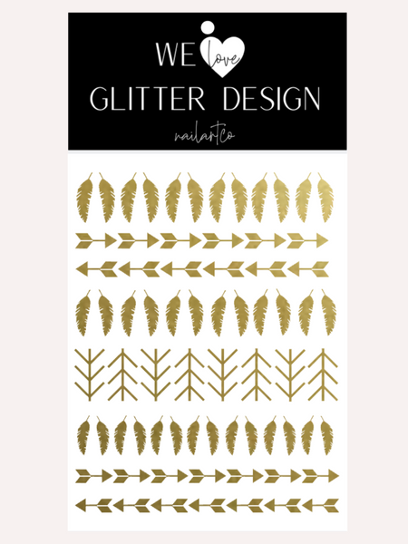 Feather And Arrows Nail Decal | Gold Shimmer