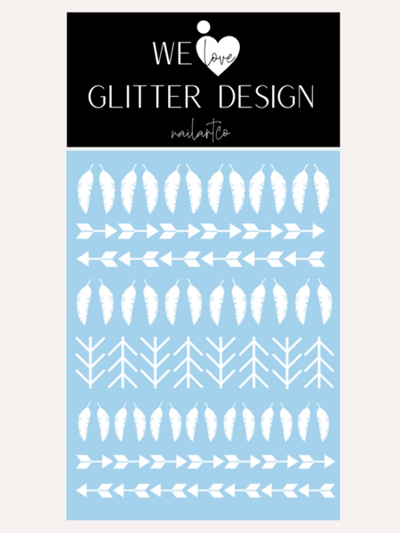 Feather And Arrows Nail Decal | White