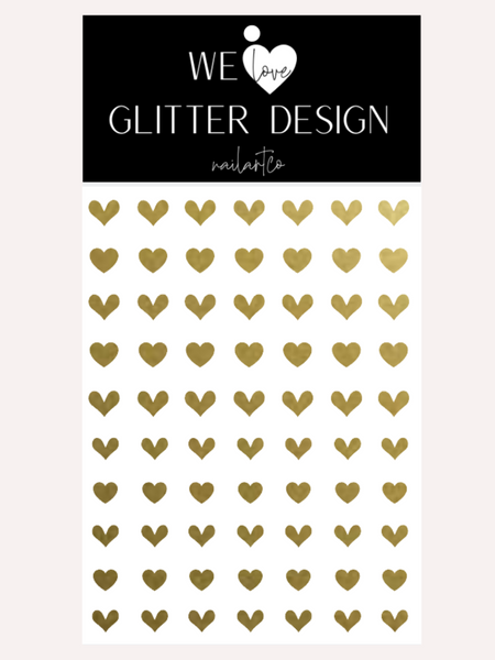 All Hearts Nail Decal | Gold Shimmer