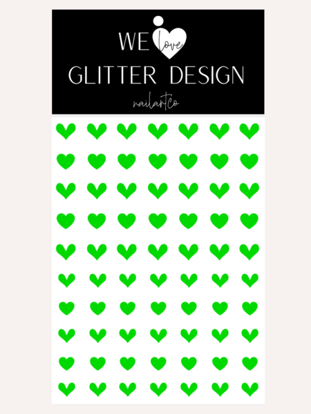 All Hearts Nail Decal | Neon Green