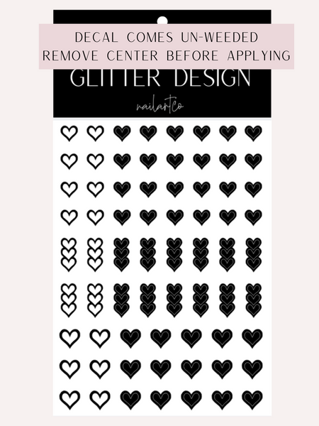 Heart Outline Nail Decal | Black