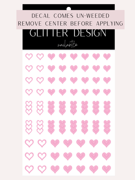Heart Outline Nail Decal | Soft Pink