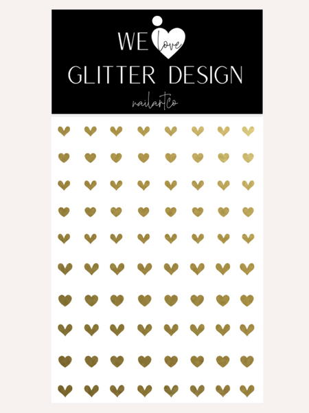 All Hearts Small Nail Decal | Gold Shimmer