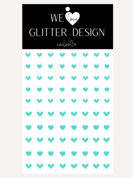 All Hearts Small Nail Decal | Mint