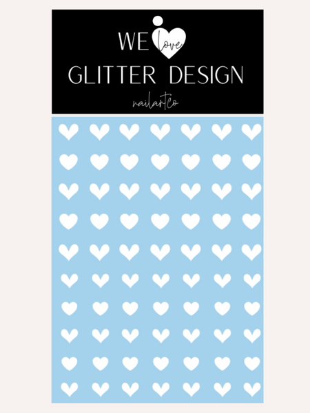 All Hearts Nail Decal | White