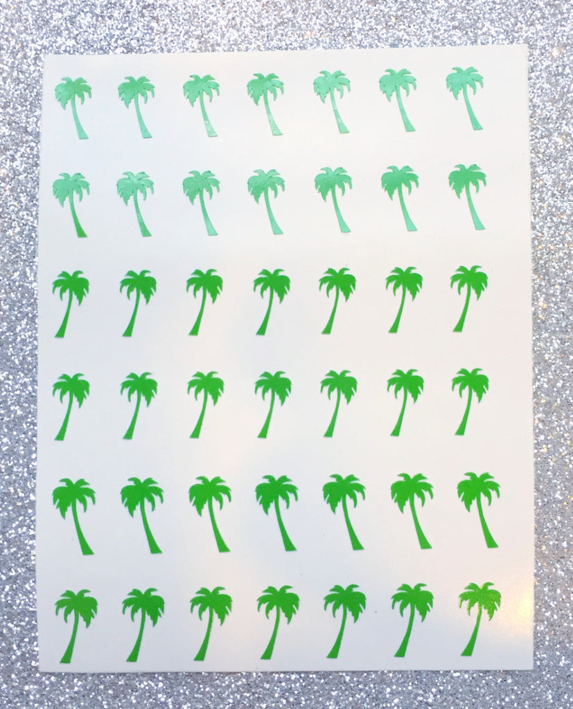 Palm Tree Nail Decal | Bright Green