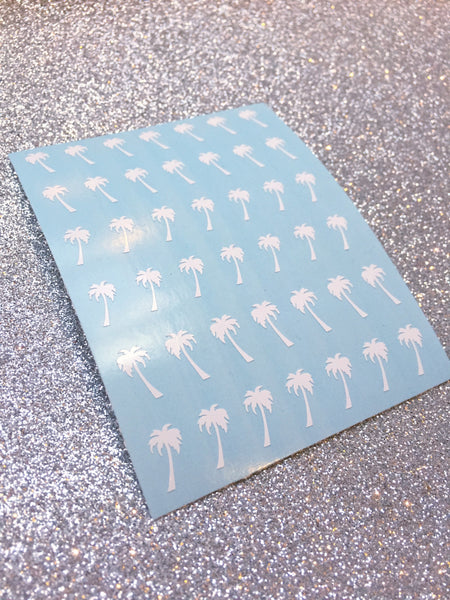 Palm Tree Nail Decal | White