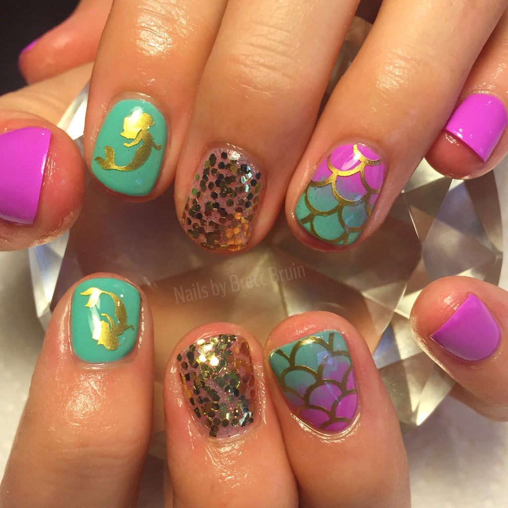 Mermaid Scales Full Nail Decal | Gold Shimmer – We Love Glitter Design