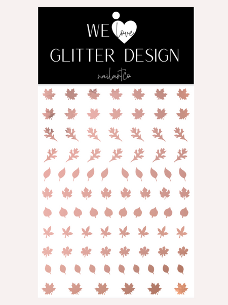 Leaves (Design 1) Nail Decal | Rose Gold Chrome