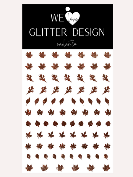 Leaves (Design 1) Nail Decal | Sparkle Cinnamon Brown