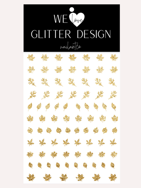 Leaves (Design 1) Nail Decal | Sparkle Gold
