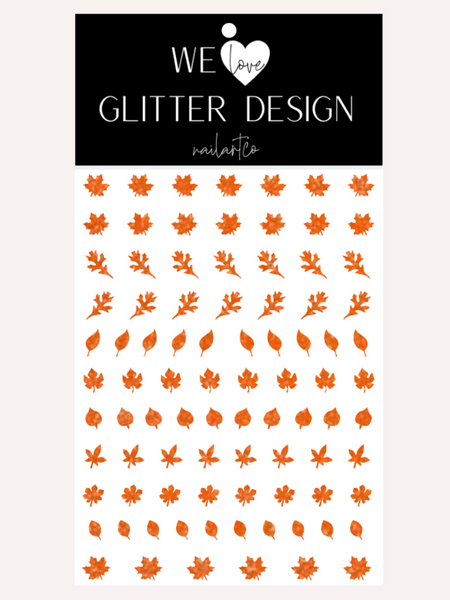 Leaves (Design 1) Nail Decal | Sparkle Orange
