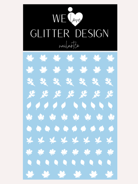 Leaves (Design 1) Nail Decal | White