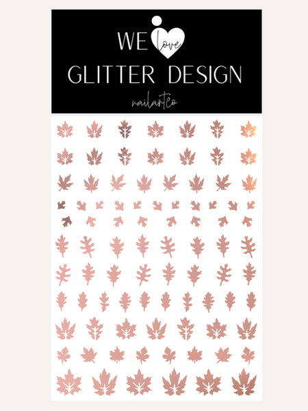 Leaves (Design 2) Nail Decal | Rose Gold Chrome