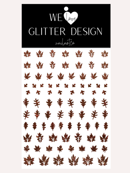 Leaves (Design 2) Nail Decal | Sparkle Cinnamon Brown