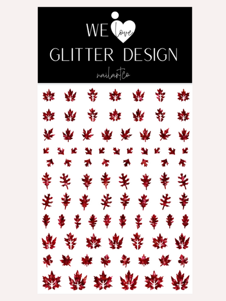 Leaves (Design 2) Nail Decal | Sparkle Dark Red