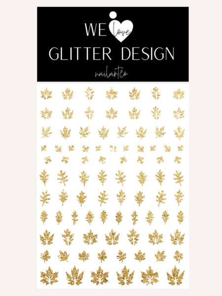 Leaves (Design 2) Nail Decal | Sparkle Gold