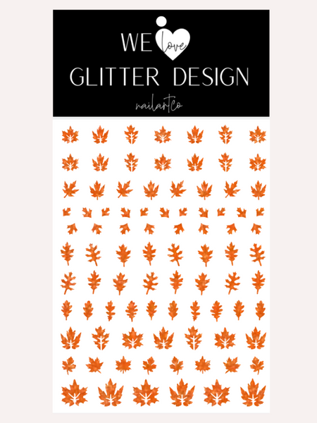 Leaves (Design 2) Nail Decal | Sparkle Orange