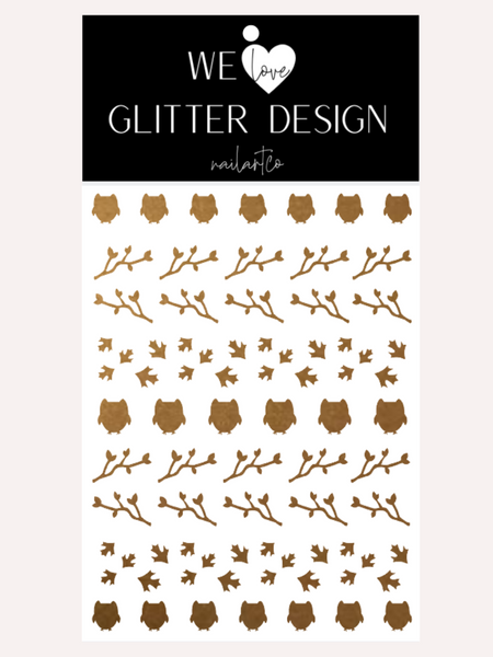Owls Nail Decal | Copper Shimmer