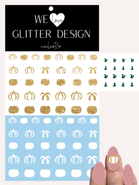 Pumpkins 2 Tone Nail Decal | Sparkle Gold & White