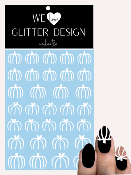 Outline Pumpkins Free Edge Nail Decal | White