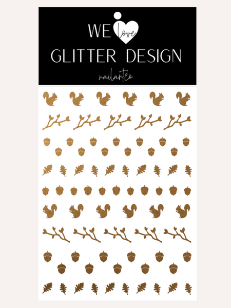 Squirrel & Acorns Nail Decal | Copper Shimmer