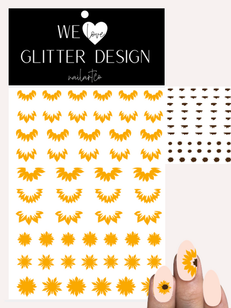 Sunflowers Cuticle-Sidewall-Flower Nail Decal | Golden Yellow (Brown Center)
