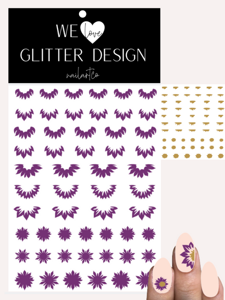 Sunflowers Cuticle-Sidewall-Flower Nail Decal | Violet (Light Brown Center)