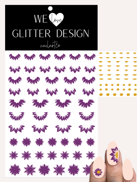 Sunflowers Cuticle-Sidewall-Flower Nail Decal | Violet (Mustard Center)
