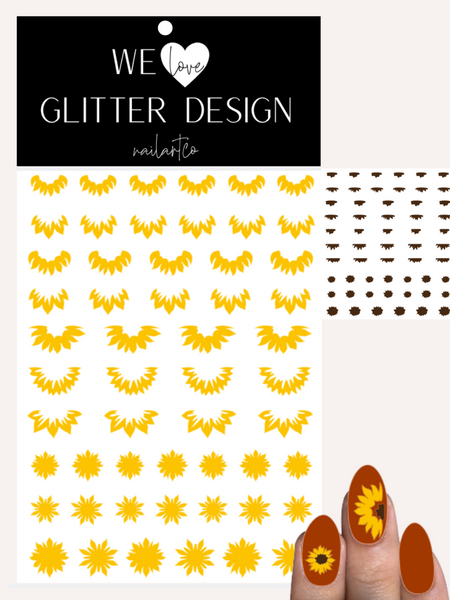Sunflowers Cuticle-Sidewall-Flower Nail Decal | Yellow (Brown Center)
