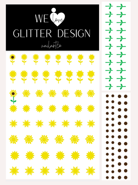 Sunflower Nail Decal | Bright Yellow + Brown Center