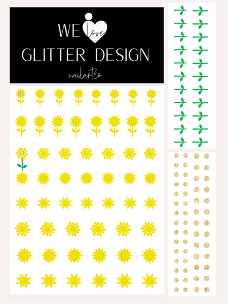 Sunflower Nail Decal | Bright Yellow + Sparkle Gold Center