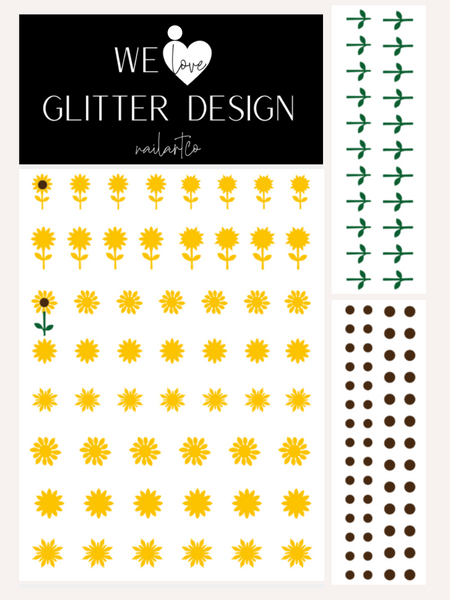 Sunflower Nail Decal | Yellow + Brown Centers