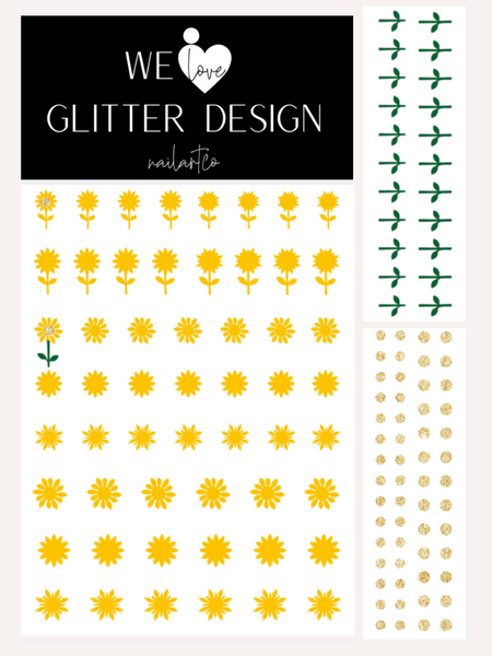 Sunflower Nail Decal | Yellow + Sparkle Gold Centers