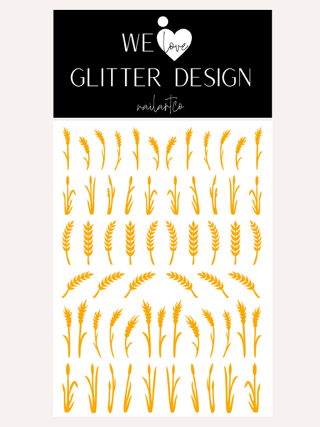 Wheat Stalk & Grass Nail Decal | Golden Yellow