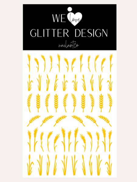 Wheat Stalk & Grass Nail Decal | Yellow