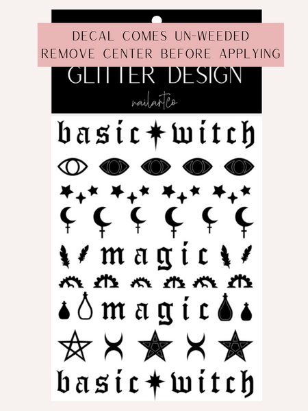 Basic Witch Nail Decal (Un-weeded) | Black