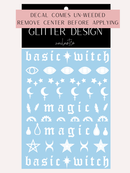 Basic Witch Nail Decal (Un-weeded) | White