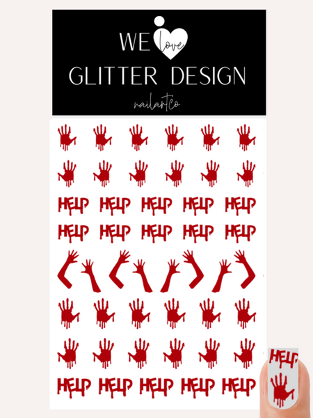 Help Me Nail Decal | Red