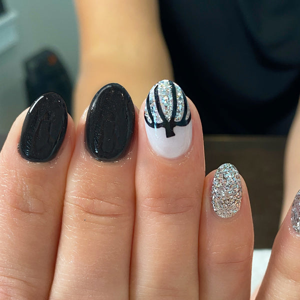Outline Pumpkins Free Edge Nail Decal | Black