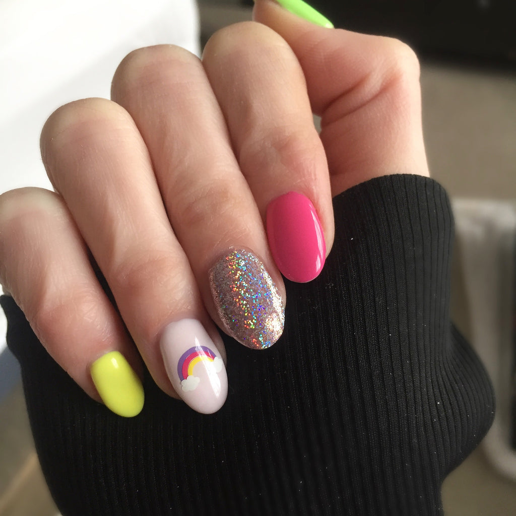 Rainbow Nail Decal Lavender Pink Bright Yellow We Love