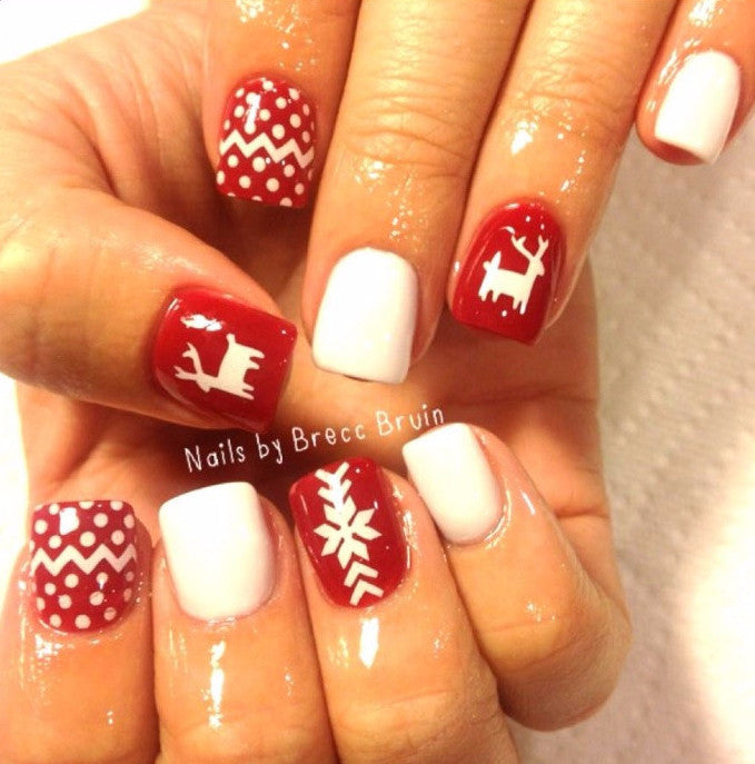 Ugly Sweater Deer Design 1 Nail Decal White We Love Glitter Design