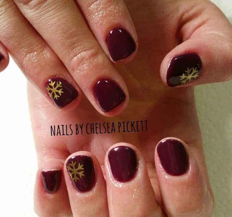 ... Snowflakes Large Nail Decal | Gold Shimmer